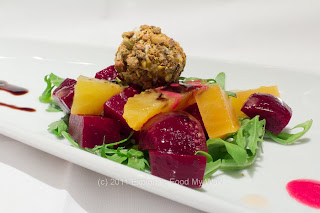 Roasted Beet Salad, Pistachio-Encrusted Chevre