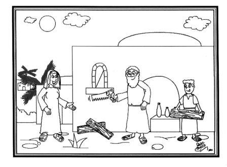 """Dibujo para colorear """"Jesus carpintero ayuda a Jose"""" - Portal Escuela"""