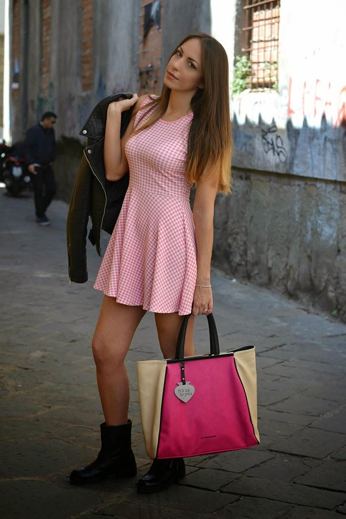 abito quadretti bianco rosa