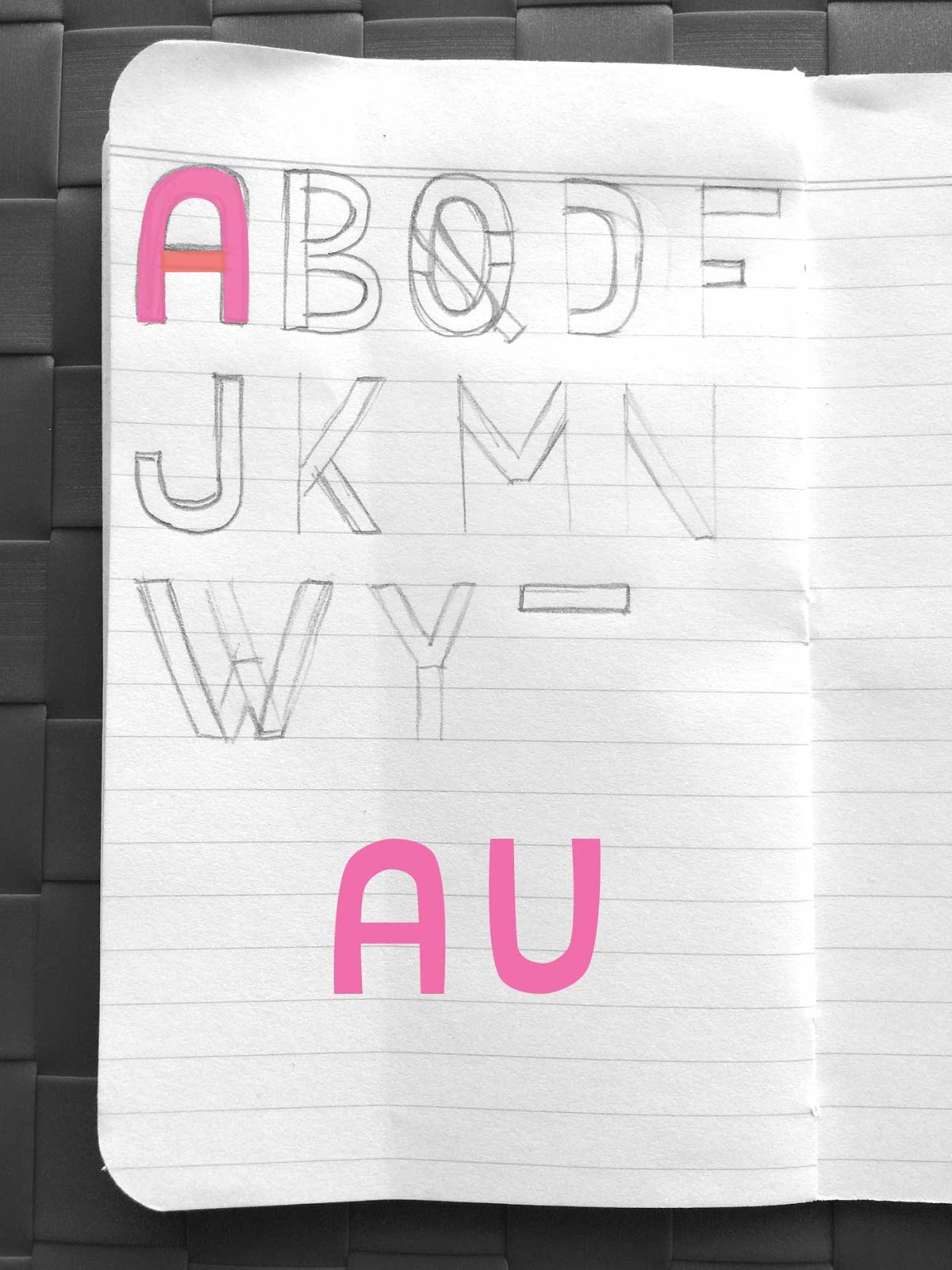 Drawing letters A and U - Create a font with minimal sketching