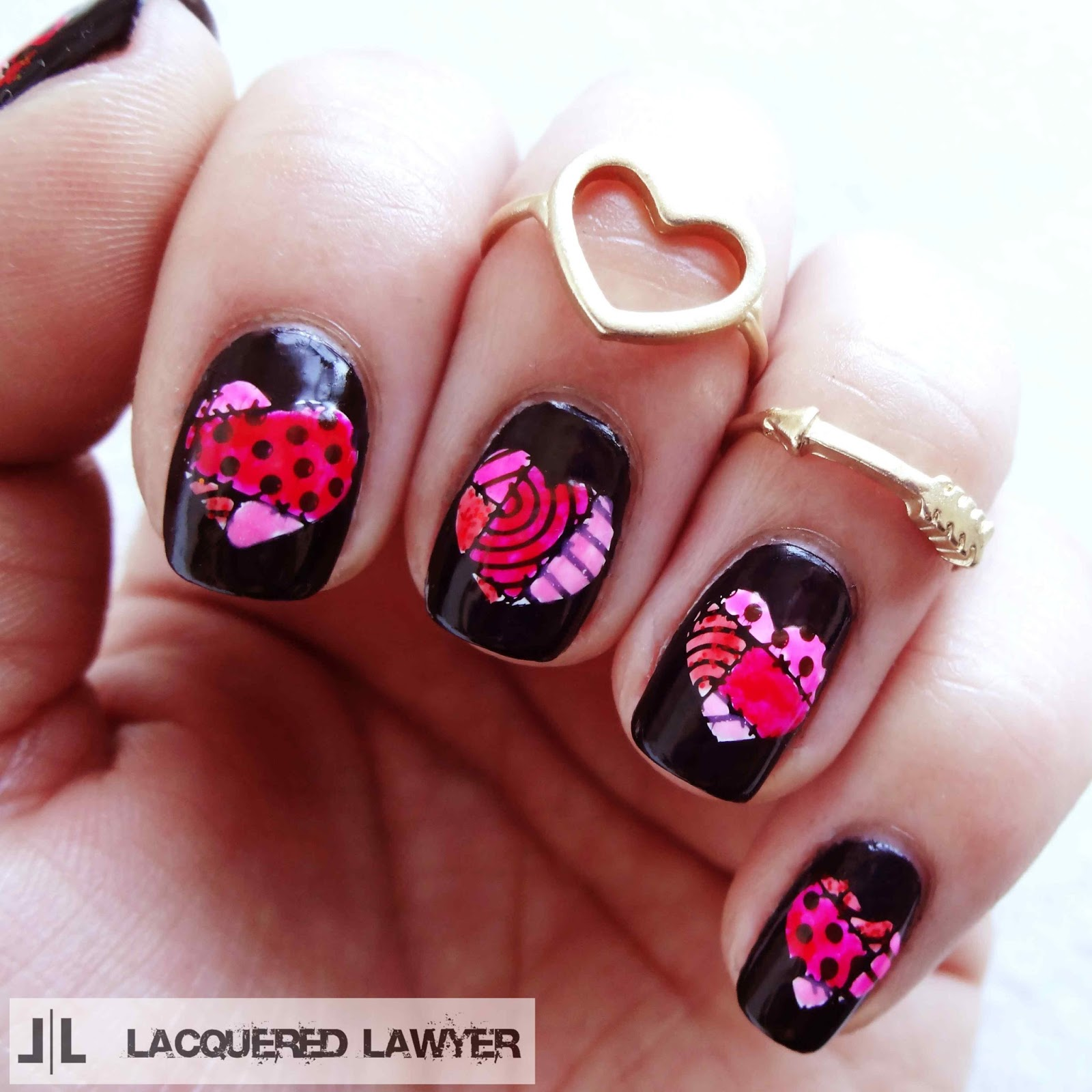 Patchwork Hearts Nail Art