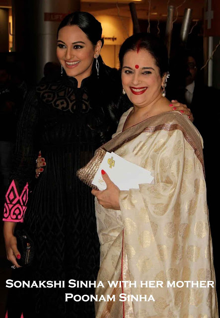 Sonakshi Sinha in black dress and mother in white saree