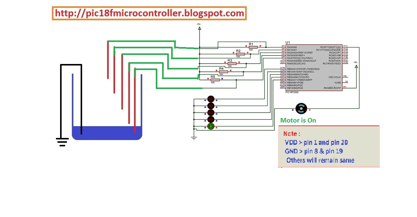 Water Level Indicator Project Using Microcontroller Learn Pic Ir Infrared Sensor Circuit Connected A With Pic18f4550 Tank Controller Pic18f2550