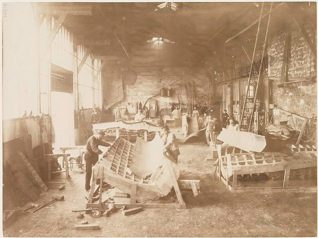 [Men in a workshop shaping sheets of copper for the construction of the Statue of Liberty.]. Fernique, Albert -- Photographer. 1883. Source: Album de la construction de la Statue de la Liberte. Repository: The New York Public Library. Photography Collection, Miriam and Ira D. Wallach Division of Art, Prints and Photographs.