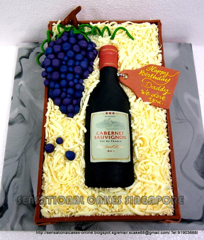 Cake Design Wine Bottle : Birthday Cakes Singapore Wedding Children Longevity ...