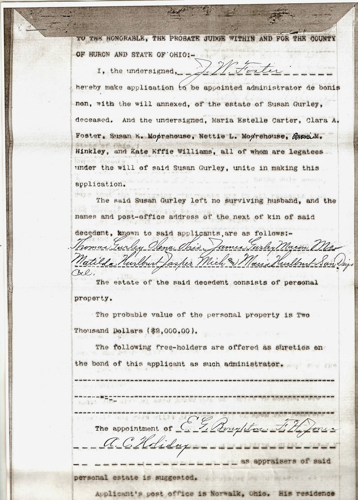 Family history research of a sahm norwalk ohio series estate of susan gurley application for appointment of administrator 22 january 1895 next of kin thomas gurley of olena ohio aiddatafo Image collections