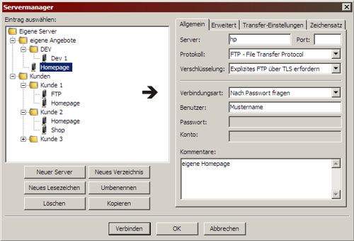 Servermanager Filezilla