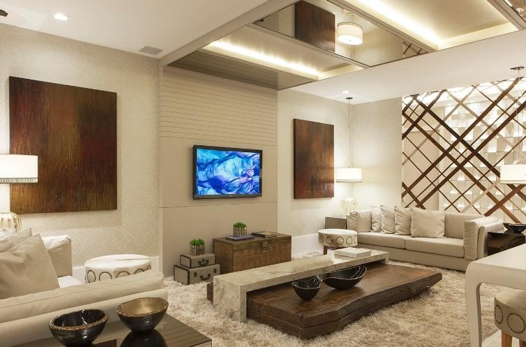 decoracao de sala retangular simples:Salas íntimas – veja modelos e dicas para aderir essa tendência na