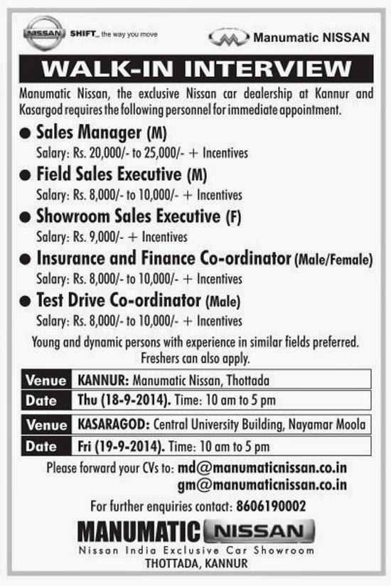 Manumatic Nissan Kannur and Kasargod Jobs 2014