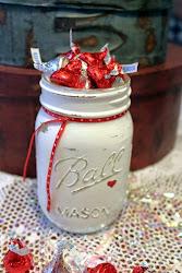 Shabby Painted Mason Jar