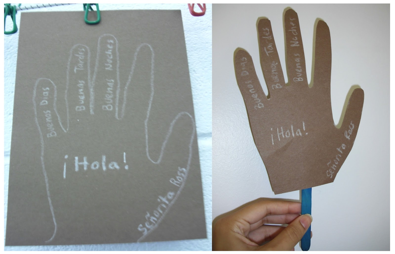 Door decorations for spanish class - Then Students Write The Many Ways Of Saying Hello In Spanish Finally They Cut Out The Hands And Add Sticks