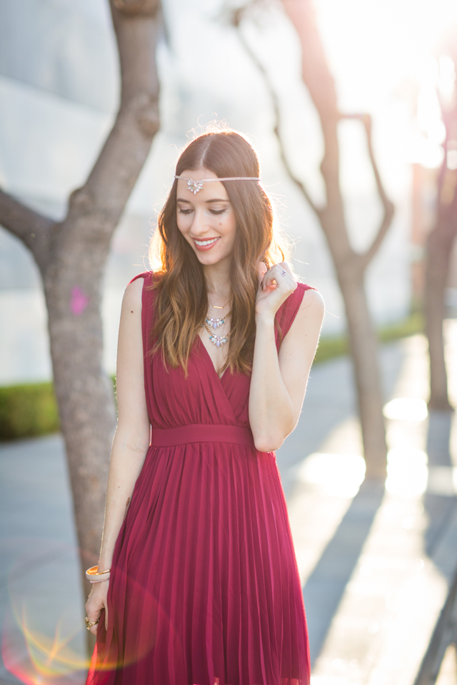 feminine burgundy pleated dress on M Loves M @marmar