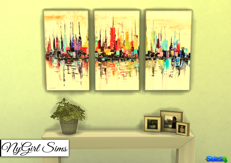Nygirl Sims 4 Cityscapes 3 Piece Canvas Art
