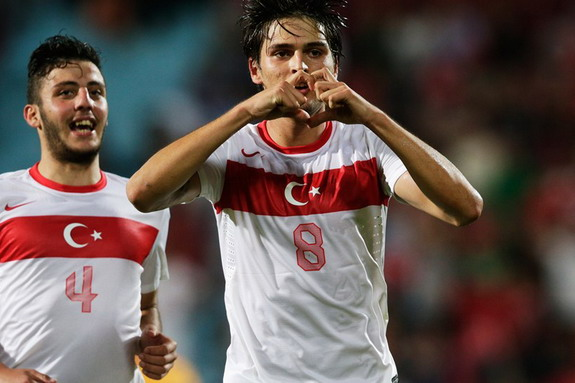 Turkey U-20 player Okay Yokuşlu celebrates after scoring a goal against Australia U-20