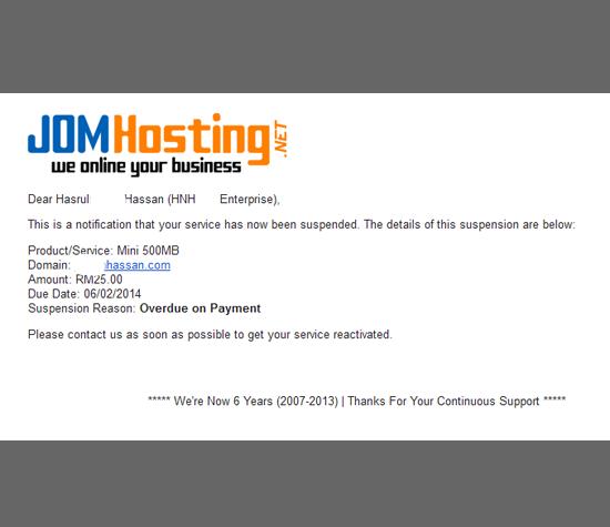 Suspended Domain Serta Hosting