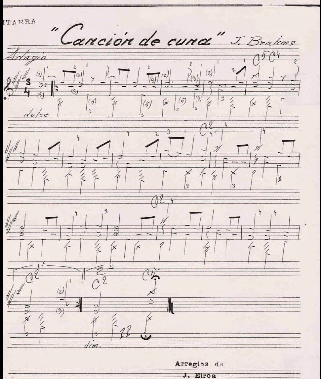 Brahms j cancion de cuna partituras para guitarra for Cancion de cuna de brahms