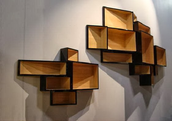 wooden wall shelves design in living spaces