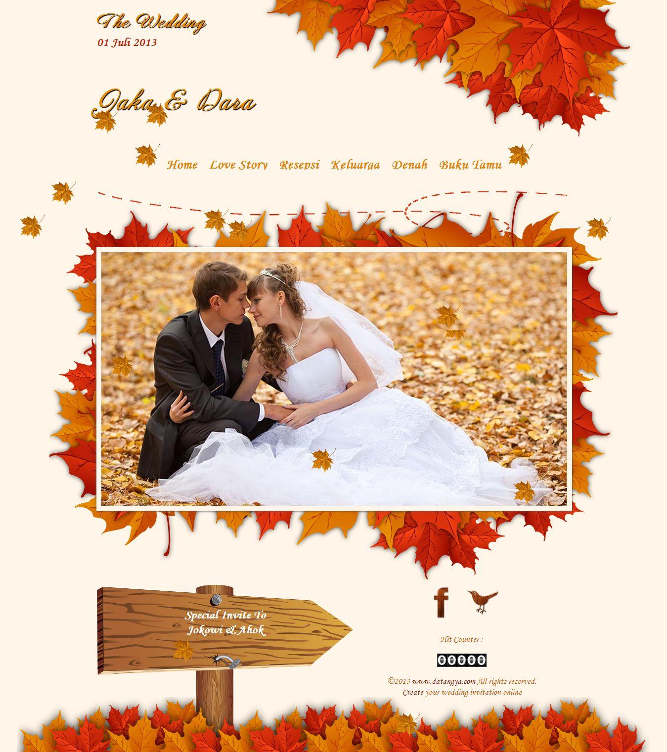Undangan pernikahan online autumn desain tema undangan online