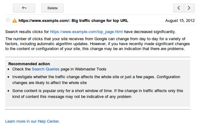 messaggio di alert da google