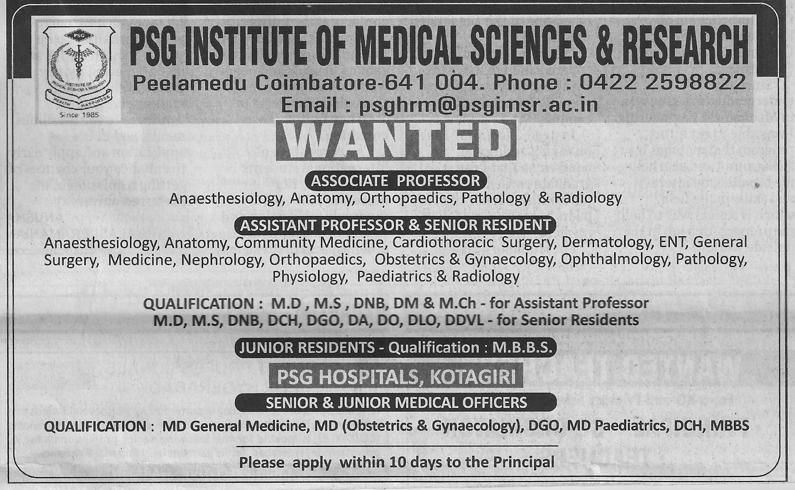 EMPLOYMENT NEWS: PSG INSTITUTE OF MEDICAL SCIENCES & RESEARCH ...