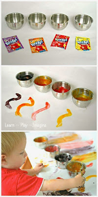 Kool Aid finger paint recipe - a baby and toddler safe paint recipe that smells incredible!
