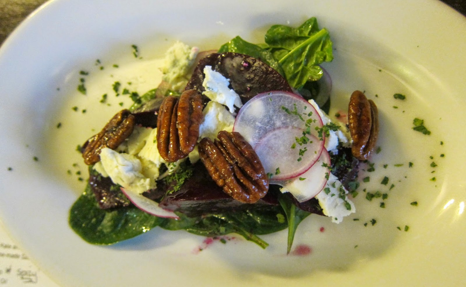 Roasted Beet & Spinach Salad at Kitchen on Common in Belmont, Mass. | The Economical Eater