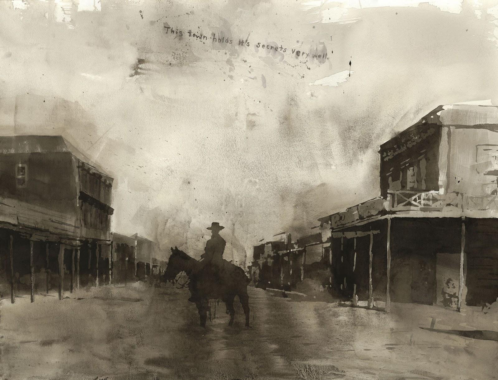 vaquero solitario en ciudad montado a caballo