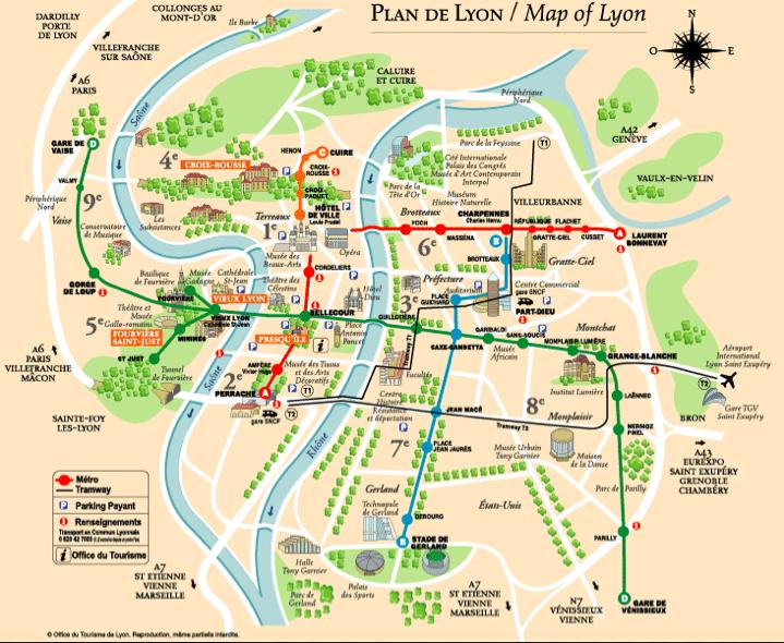 Карта Лиона: достопримечательности и транспорт
