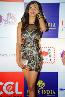 Actress Shubhra Ayyappa  Pictures in Short Dress at CCL Charity Dinner  3.JPG