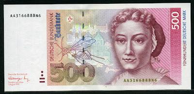 German currency banknotes 500 Deutsche Mark bank note bill