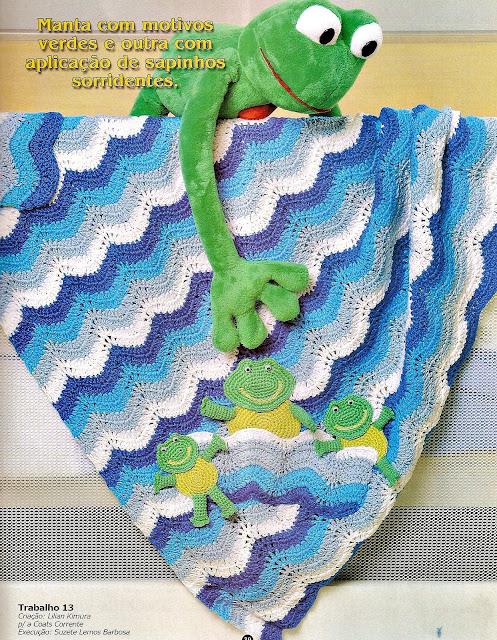 croche com receitas manta em croche ondas coloridas com sapinho