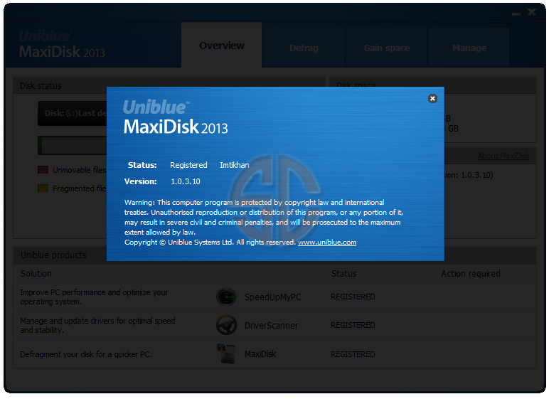 Uniblue MaxiDisk 2013 1.0.3.10 Full Version