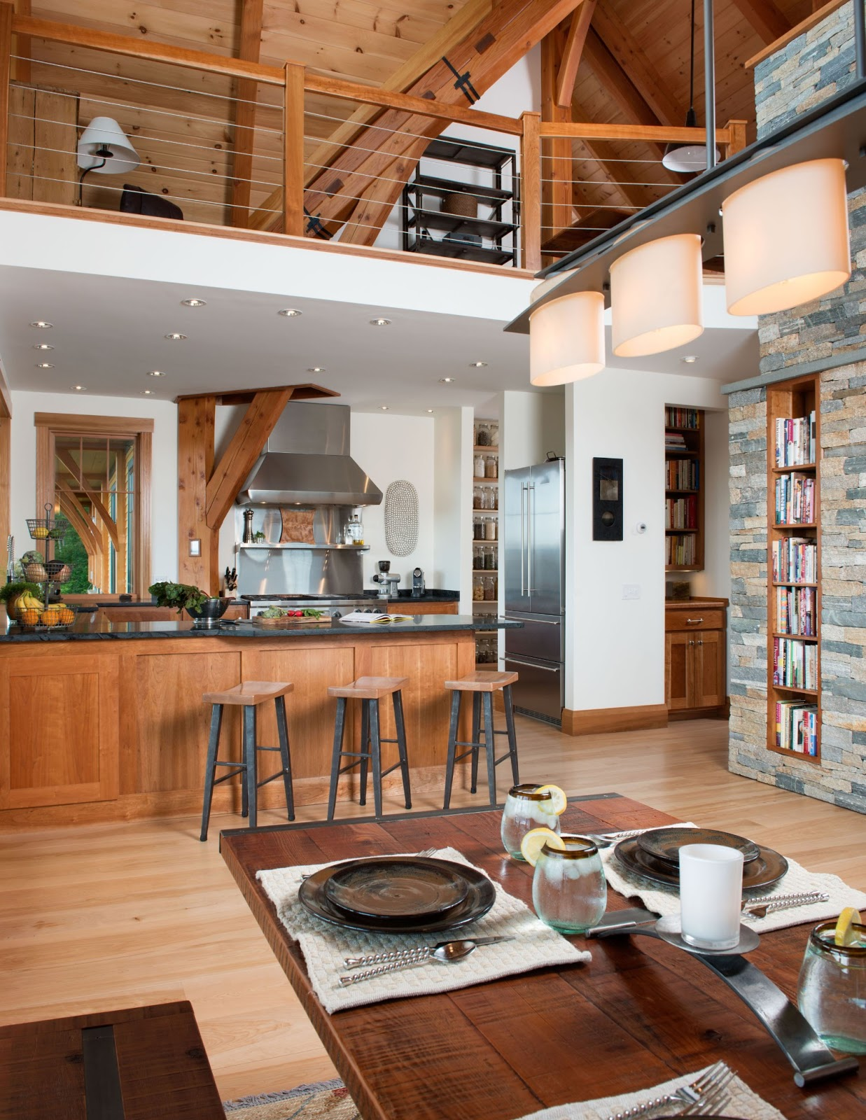 Post and beam timber frame blog january 2013 for Kitchen open floor plan