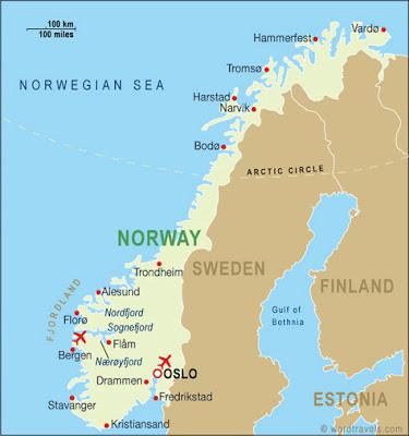 Kart over Norge Land