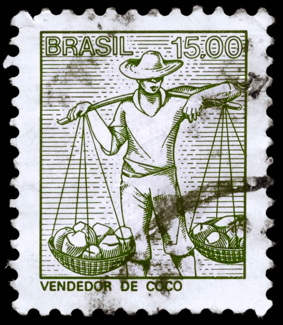 Brazil Stamp print of a coconut vendor