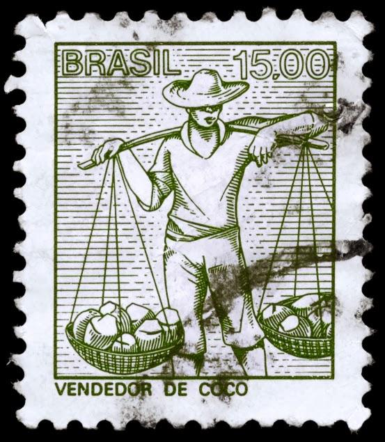 Brazil Stamp print of a coconut vendor