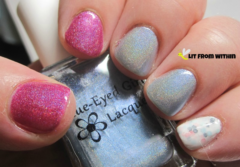 Nail Nation 3000 Inner Flame, Blue-Eyed Girl Lacquer Tea Is Soothing, I Wish To Be Tense, and Makeup Your Face Funfetti