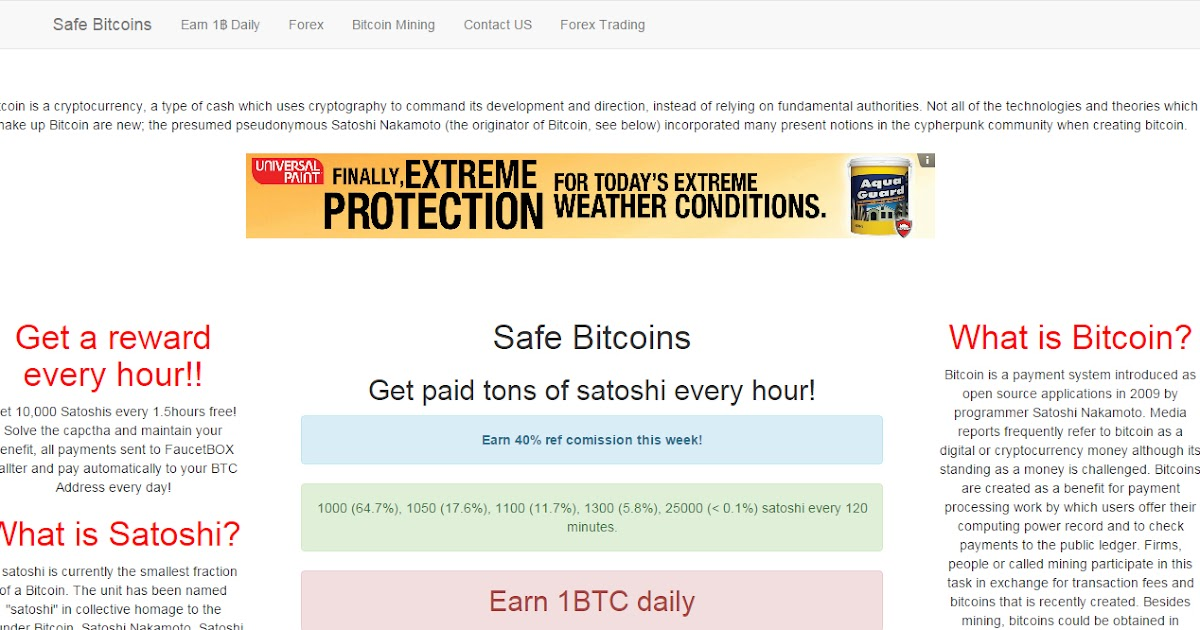 Safe Bitcoins - High Reward Bitcoin Faucet site minimum of 1,000 ...