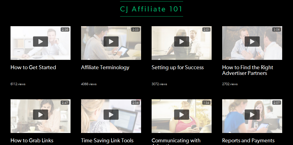 cj affiliate program videos