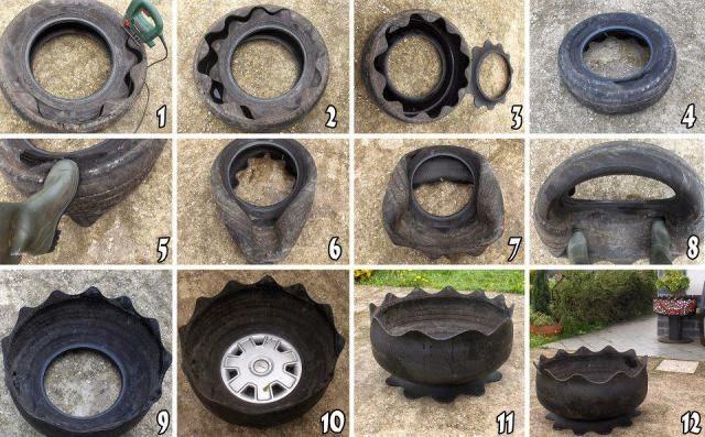 como cortar pneu, como virar pneu ao contrário