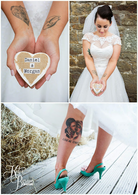 tattooed bride, bride with tattoos, high house farm brewery wedding, barn wedding, barn wedding northumberland, northumberland wedding photographer, quirky wedding, katie byram photography, matfen barn wedding,