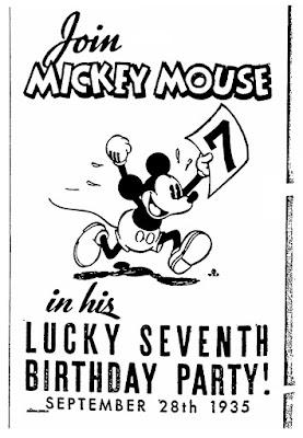 Mickey Mouse lucky seneth birthda party, September 28th 1935