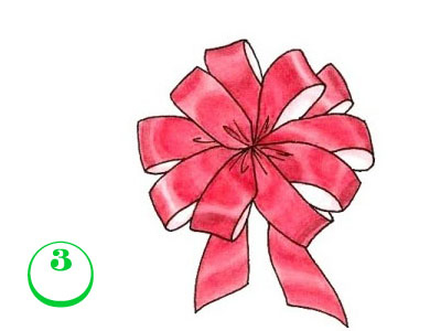 Завържете през средата и закрепете към подаръка