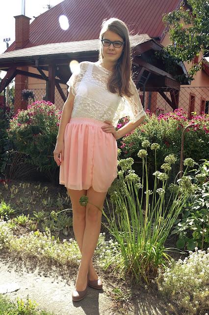 OOTD: Koronkowa bluzka + spódniczka różowa :*