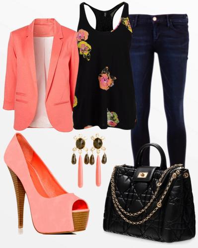 Orange jacket, black blouse, denim pants, high heel sandals and handbag for fall
