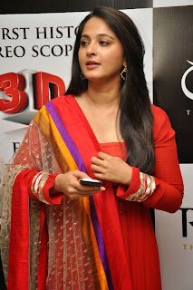 Anushka Shetty Latest Pictures in Red Salwar Kameez at Rudramadevi Trailer Launch ~ Celebs Next