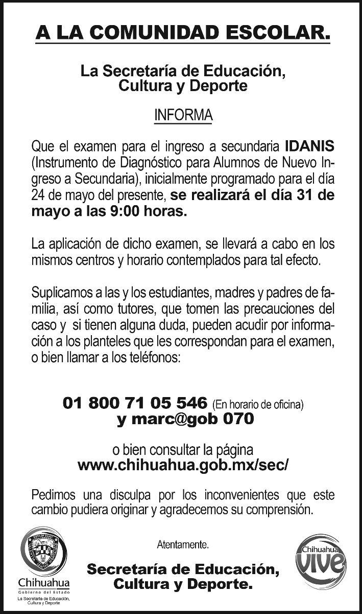 Examen Idanis 2013 resultados ingreso eduación Secundaria
