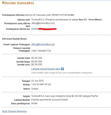 Transfer dari PopAds ke Paypal