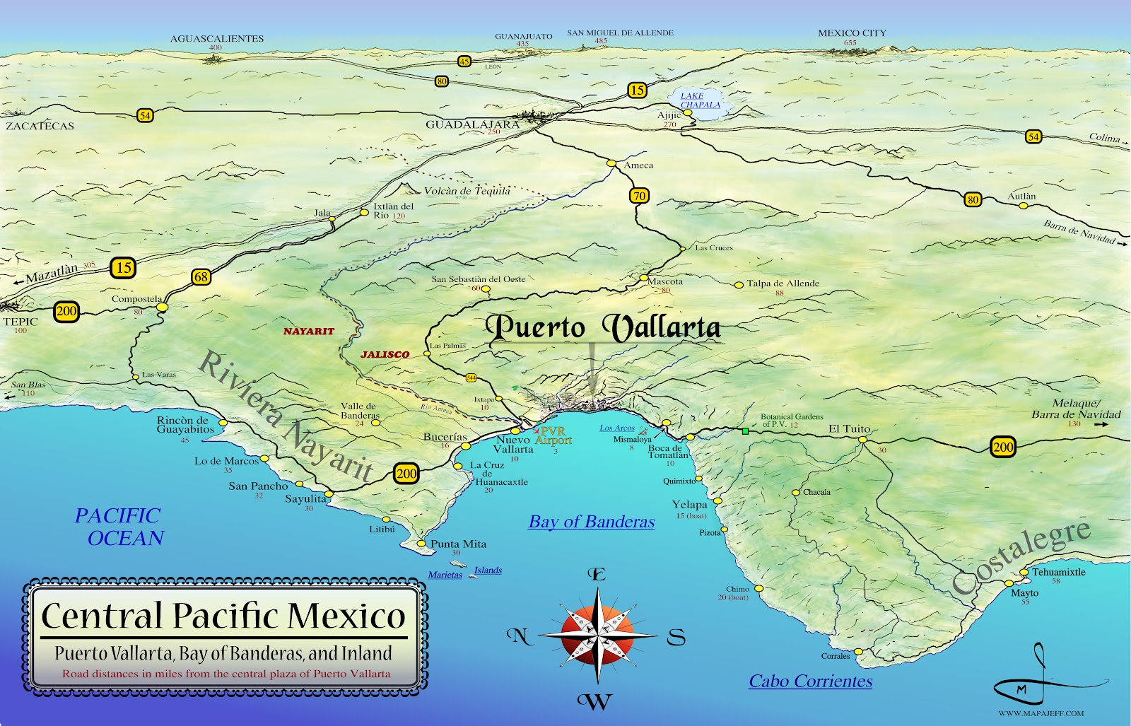 Mapa Jeff Cartography: Central Pacific Mexico Maps
