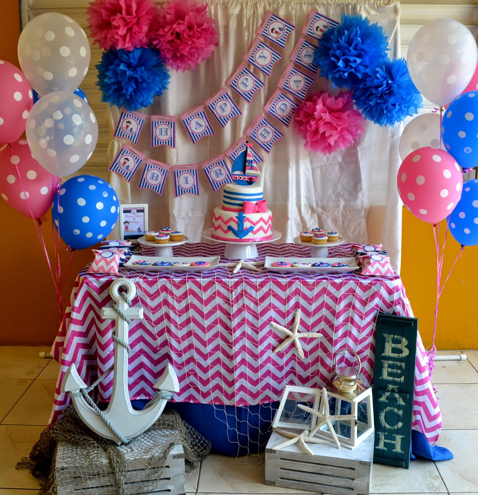 Partylicious nautical girl birthday for Baby shower nautical decoration